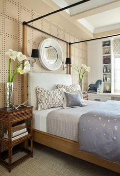 Sanfte Wandfarben für schlafzimmer-Vliestapeten-Nachttisch aus Bambusholz