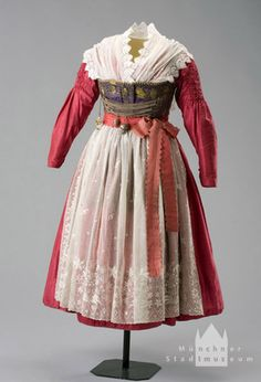 Munich Women's Costume By 1840,  silk taffeta, linen, silk damask, cotton