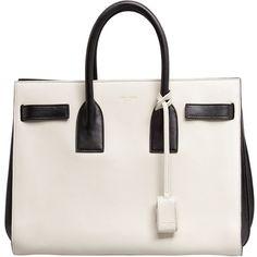 Saint Laurent Sac de Jour Small Carryall Bag, White/Black found on Polyvore