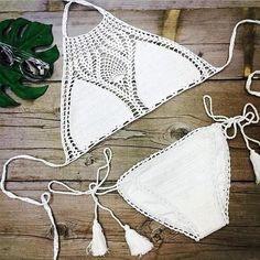 Fashion hand woven beach halter #Bikini #Swimsuit Swimwear