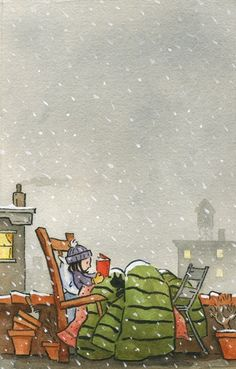 Quite the determined outdoor reader.   Original Description: Reading under the snow ...(ilustración de Jonathan Bean)