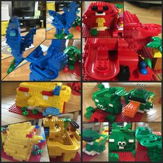The Angry Birds made with Lego Duplo and Hubelino the blue bird is the starting point for each of the other birds and pig, you can move it into the slot on the front to position it. #lego #duplo #hubelino