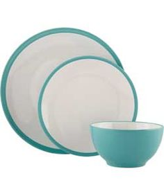 ColourMatch 12 Piece Stoneware Dinner Set - Aqua.