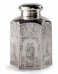 A Russian Silver Tea Caddy, Moscow, 1884 - Hexagonal form with domed screw-on cap fitting over a cork stopper with gilded silver mount, the body elaborately engraved with Chinoiserie scenes of tea drinking and warriors surrounded by extensive strapwork borders  with maker's mark AA, probably for Andrei Alexandrov; also with Soviet, French, and Dutch control marks  Height 6 in.