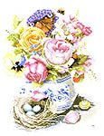 Click for more details of Roses and Delft Blue Vase (cross-stitch kit) by Marjolein Bastin; www.artsanddesigns.com