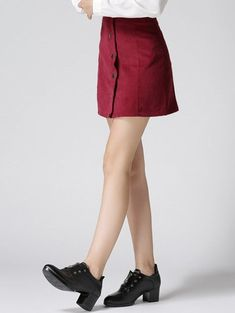 High Waist Buttoned Corduroy Skirt - WINE RED S