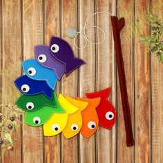 Felt Magnetic Rainbow Fishing Game, Kids Magnet Fish Set Developing Magnet felt fish, Eco friendly game for imaginative play,quiet toy Feltro magnetico arcobaleno pesca gioco bambini magnete Felt Crafts, Diy And Crafts, Crafts For Kids, Fishing Games For Kids, Magnet Fishing, Fishing Rod, Kids Magnets, Felt Fish, Rainbow Fish