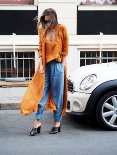 trendfarbe orange denim look gucci mules streetstyle berlin blogger outfit ootd