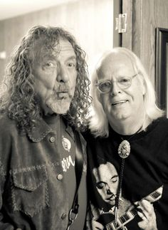 Robert Plant and photographer Frank Melfi at the New Orleans Jazz Fest, April 26, 2014. Photo: Justin Adams.