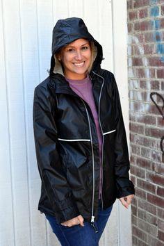 BLACK Monogrammed Rain Jacket Womens  by embellishboutiquellc