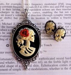 Halloween Jewelry  Skeleton Cameo Necklace by couturebylolita, $58.00