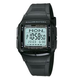 01f7ca9fa05 Details about Watch CASIO DATA BANK DB-36-1AVDF Silicone Black Chrono Timer  Dual Time DD