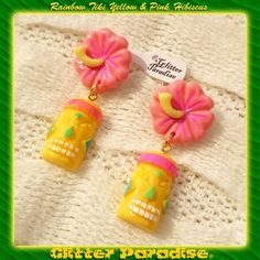 Earrings Clips: Rainbow Tiki Yellow & Pink Hibiscus ♥ By Glitter Paradise® glitterparadise.com