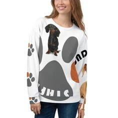 Put a BigPrint Dachshund Staff sweatshirt on and you will be seen! It's durable fabric with a cotton-feel face and soft brushed fleece inside means that this sweatshirt is bound to become your favorite for a long time. Create Shirts, Dog Products, Dachshund Love, Dog Wear, Dog Shirt, Unisex Fashion, Fleece Fabric, Dog Mom, Group