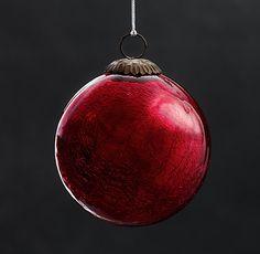 Vintage Handblown Glass Ornament Ball - Red