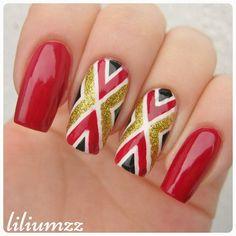"""I love this one! ❤❤❤ Check out my instagram @liliumzz  Inspired by @siobhankha""  #nail #nails #nailart #naildesign#nailpolish #nailstagram #manicure #mani #neglelakk #nagellack #nailspiration #nagellack  #notd #nailsoftheday #liliumzz #cutenails #cutemani #nails2inspire  #zigzag #zigzagnails #zigzagpattern #stripingtape #stripes #goldglitter #gold #glitternails #nailartaddict #nailsofinstagram"