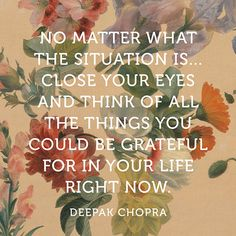 """No matter what the situation is.close your eyes and think of all the things you could be grateful for in your life right now."" — Deepak Chopra Great way to put things in perspective. Now Quotes, Great Quotes, Quotes To Live By, Life Quotes, Inspirational Quotes, Gratitude Quotes, Attitude Of Gratitude, Positive Quotes, Being Grateful Quotes"