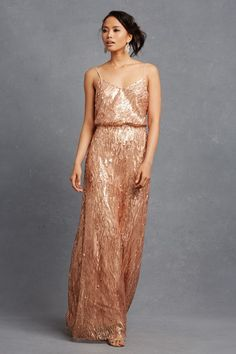 Rose gold sequin bridesmaid dress | 'Courtney' by Donna Morgan