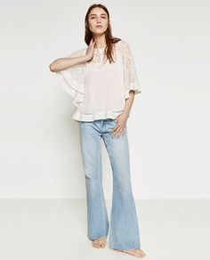 Image 1 of FRILLED SLEEVE TOP from Zara