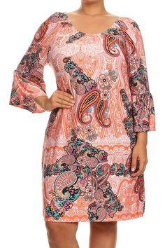 Más el tamaño de múltiples impreso floral de punto vestido de color melocotón