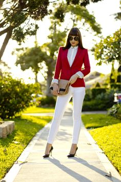 red blazer and white jeans - classy ladylike outfit