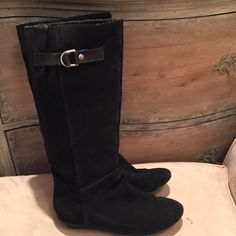 Tall black leather boots Good condition Buckle on the top to add or make smaller an inch Shoes Winter & Rain Boots