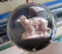 Vintage Rare German Sulphide Glass Clear Marble Elephant