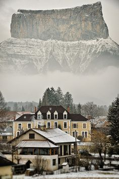 On the front side, the City Hall of the village of Chichilianne, in the Vercors (French Alps). And on the back side, the Mont Aiguille, a famous French mountain first climbed in 1492.  (****Duplicate Pin)