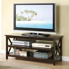 New Mordern X Design TV Stand Console Entertainment Center in Dark Wood Finish #Poundex #Contemporary