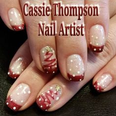 Make an original manicure for Valentine's Day - My Nails Cute Christmas Nails, Xmas Nails, Holiday Nails, Christmas Tree, Santa Nails, Christmas Quotes, Christmas Pictures, Fingernail Designs, Cool Nail Designs