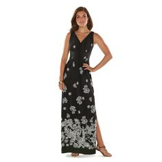 Chaps Printed Empire Maxi Dress - Women's