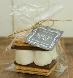 "S'more Favors for wedding? ""S'more love,"" ""There's always room for s'more love,"" ""Couldn't be s'more in love""...."