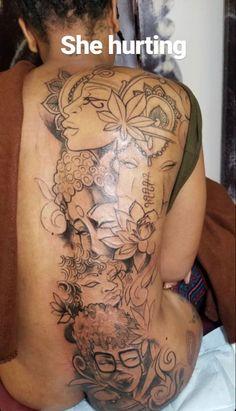 Dope Tattoos, Pretty Tattoos, Beautiful Tattoos, Body Art Tattoos, Girl Tattoos, Thigh Tattoos, Awesome Tattoos, Tatoos, Back Tattoo Women