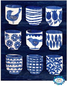 'Indigo Cups' by Tracey English Fruit Birthday, Kitchen Art, Dark Backgrounds, Surface Pattern Design, Art Plastique, Chinoiserie, My Favorite Color, Art Lessons, Indigo