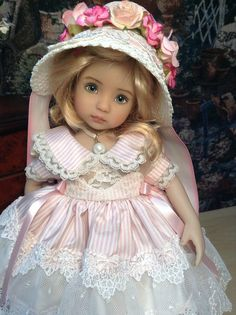 """Dianna Effner Little Darling Doll """"Silk and Bows """" with Regency Bonnet Ensemble"""