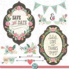 "Wedding Clipart pack ""WEDDING FLORA"" clip art,Vintage Flowers,Floral Frames,Wreath,Wedding, Save the date, invitation,Instant Download Wd055"