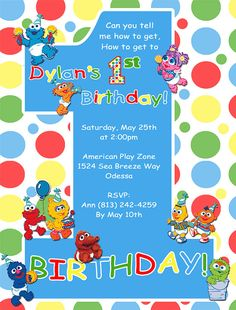 Baby Sesame Street Birthday Invitations By DesignsbySuzan On Etsy 055