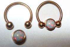 Rose or septum piercing anneau avec blanc opale par AnairdnaJewelry