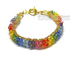 Multicolors Swarovski Crystal Bracelet with Gold by candybead, $15.00