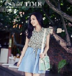 Baju Import Dress DS3156-Light Green Background