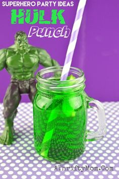 Hulk Punch, Superhero themed birthday party ideas, Easy dessert ideas for boys, avengers party ideas