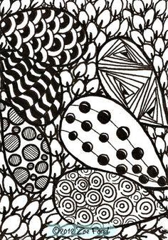 SALE  ACEO Original Art Card Zentangle Loopy by TopFloorTreasures, $4.00