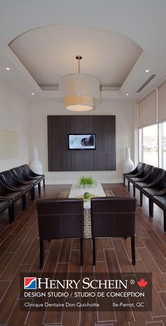 Henry Schein Canada - Dental Office Design by Schein - Gallery - Waiting room chandelier, possible wall add behind tv monitor, chairs too dark but like the shape