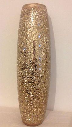 Large Gold Crackle Vase | eBay