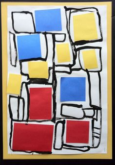 """Use this with grade 2015 Fall! Mondrian--primary colors cut and glue time use small brush and draw a """" road """" around primary shapes. (Flips cut and glue black strips and then add the colors that we did last year--better for this years' large group!"""