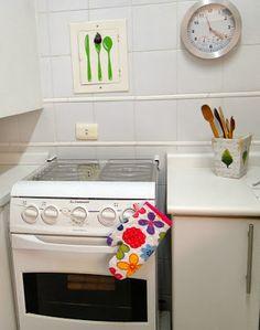 Panos de prato e luva térmica com imã- DIY