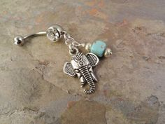 Indian Elephant Belly Button Ring with Turquoise by MidnightsMojo, $15.00