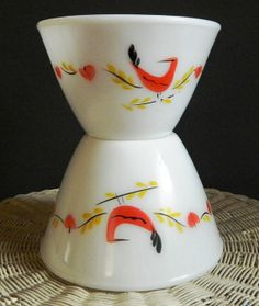 Two Vintage Fire King Gay Fad Studio Bowls by OakAndCrowSundries, $29.95