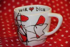 Glücksflügel: Vatertags-Geschenk Bemalte Tasse