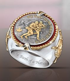 Rare rhodium-plated and gold-plated men's ring embossed with a Vimy Ridge battle scene, national symbols and historic designation. Jewelry Rings, Silver Jewelry, Fine Jewelry, Jewellery, D Day Normandy, National Symbols, Bradford Exchange, Victorious, Pocket Watch